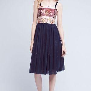 Anthropologie Blooming Sapphire Silk Wrap Dress